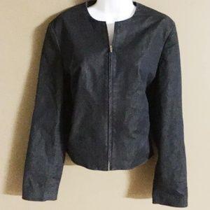 INC dark denim style fitted, crop, zipper jacket
